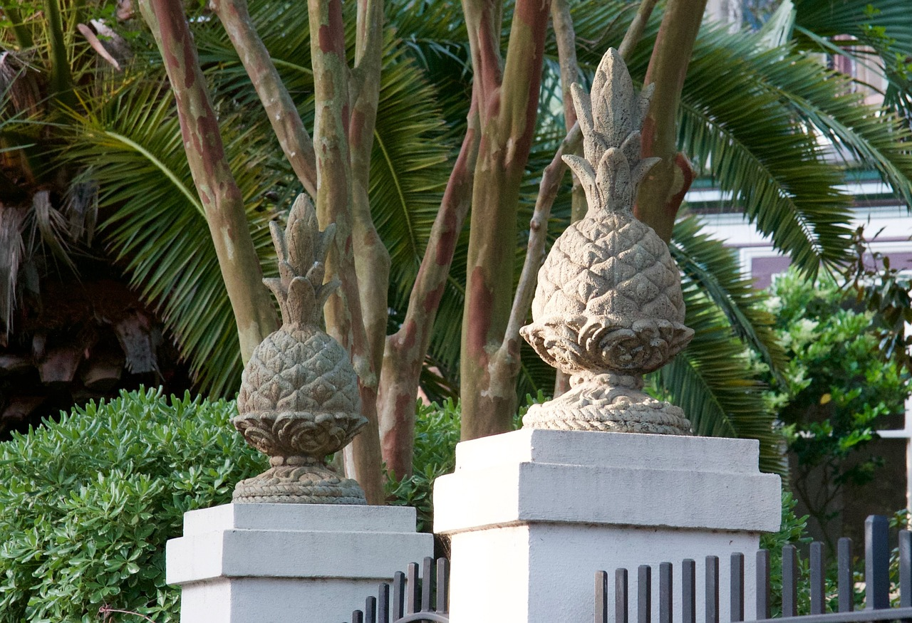 Pineapple statues outside of a home in Mt. Pleasant.